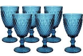 Conjunto de 6 Taças de Água em Vidro Bico de Abacaxi 300 ml  Azul TCVI056