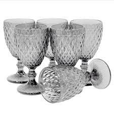 Conjunto de 6 Taças de Água em Vidro Bico de Abacaxi 300 ml Preto