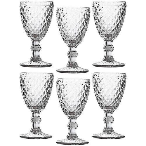 Conjunto de 6 Taças de Água em Vidro Bico de Abacaxi 300 ml Transparente Espelhado