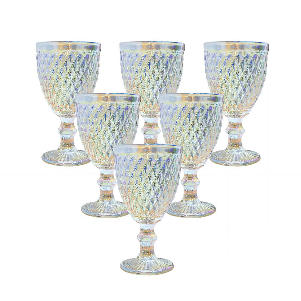 Conjunto de 6 Taças Transparente Furta-Cor Bico de Abacaxi 300 ml - Casambiente