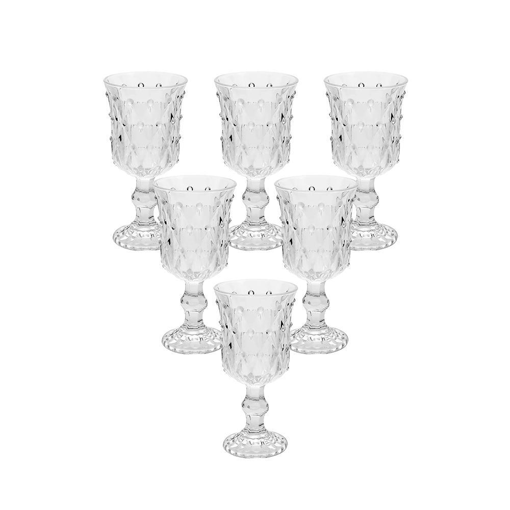Conjunto de 6 Taças em Vidro Gotas 210 ml  Transparente