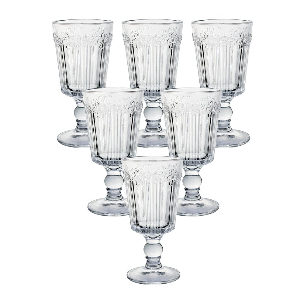 Conjunto de 6 Taças em Vidro Transparente Flowers 260 ml Taça061 - Casambiente
