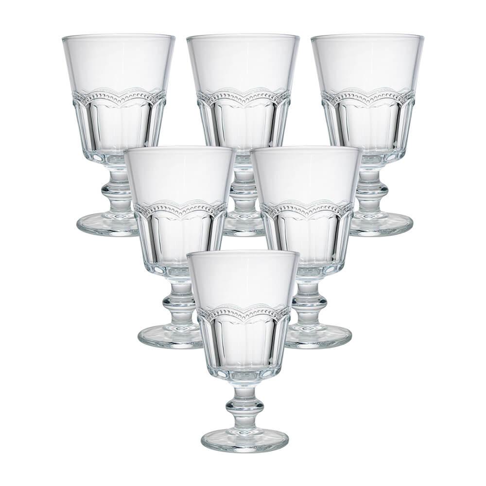 Conjunto de 6 Taças em Vidro Transparente Renda 260ml - Casambiente