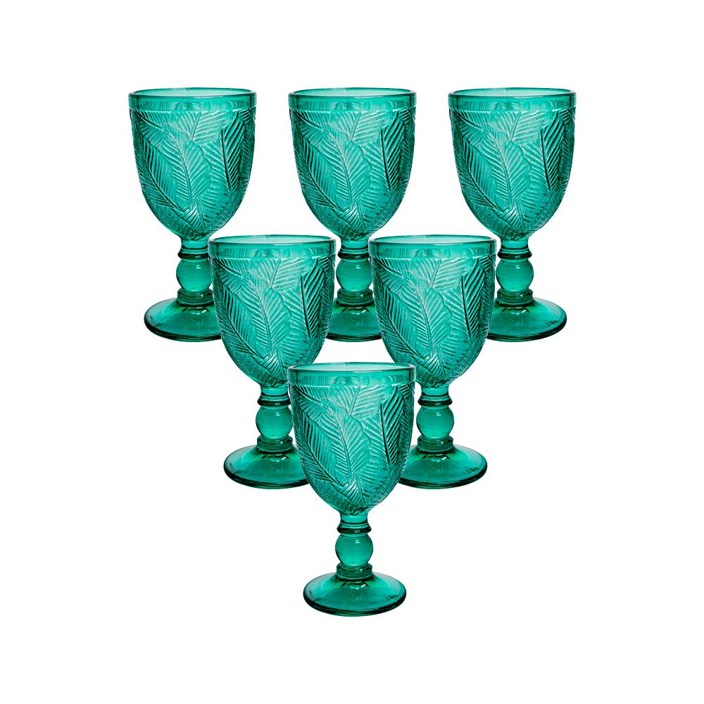 Conjunto de 6 Taças em Vidro Verde Folha 350 ml - Casambiente