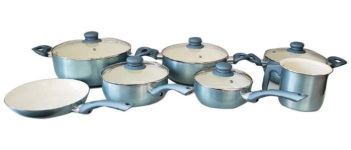 Conjunto de Panelas Casa Ambiente Genebra, 7 Peças, Revestimento Cerâmica - AL039
