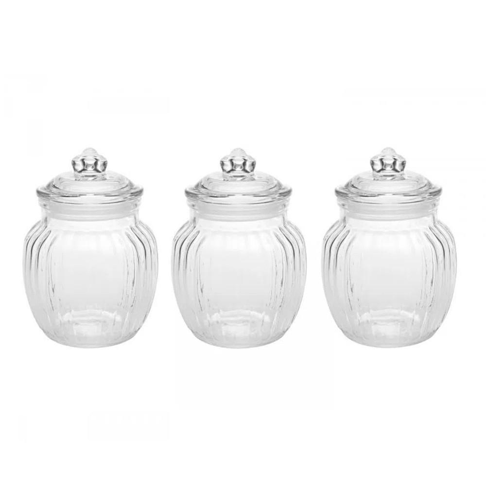 Conjunto De Potes De Vidro Hermético 620ml 3 peças - Casambiente