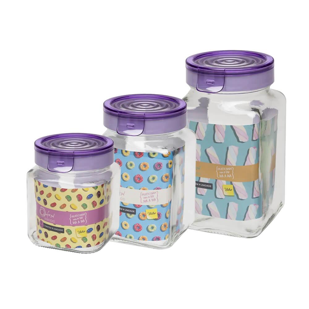 Conjunto De Potes De Vidro Hermético Lilás 3pçs - Oxford