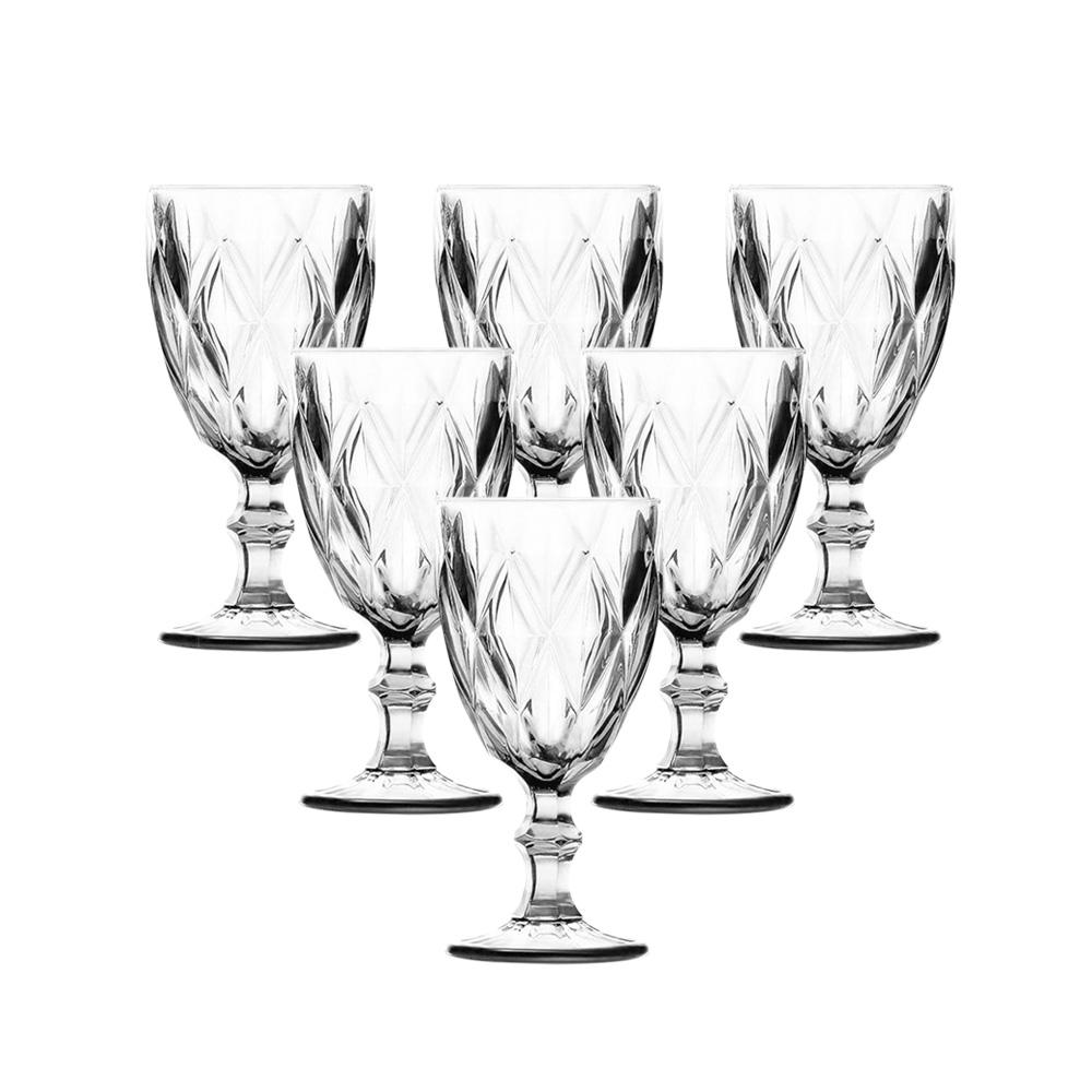 Conjunto de Taças de Vidro 240ml 6 peças Diamond Transparente - Casambiente