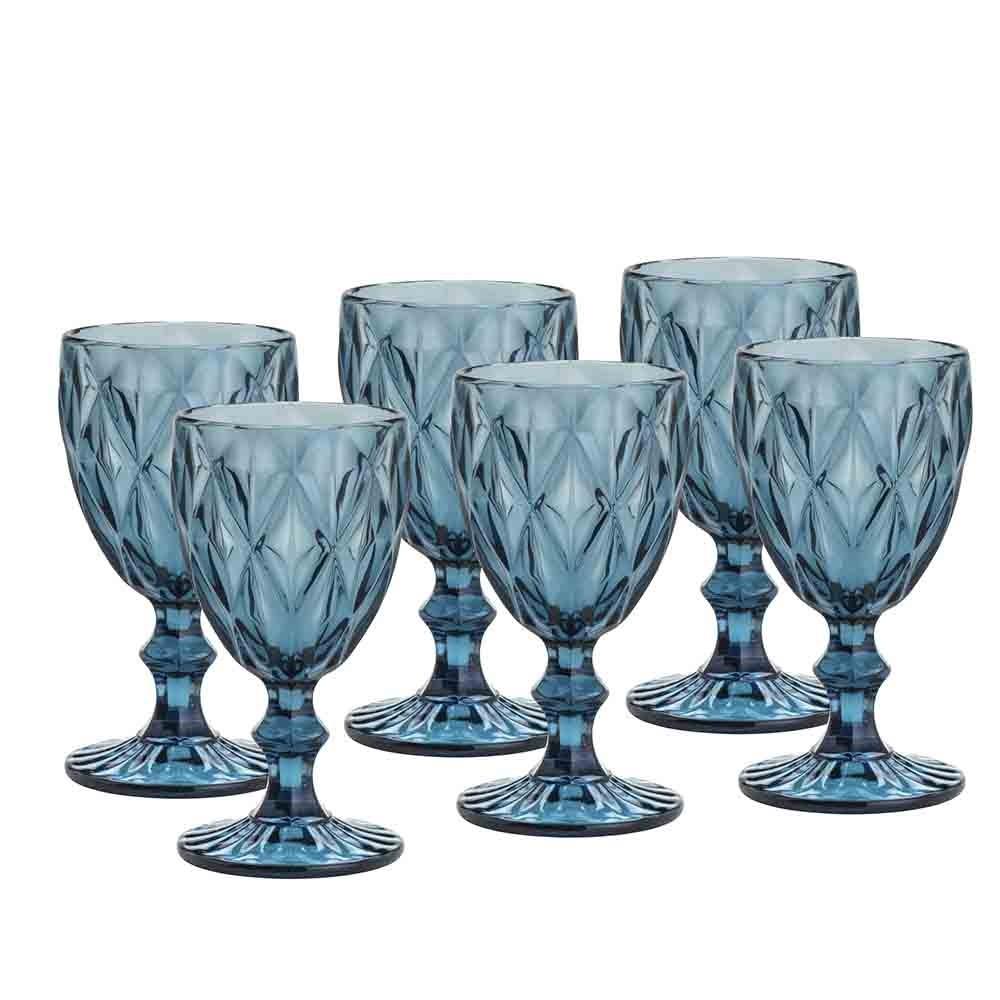 Conjunto de Taças de Vidro 260ml 6 peças Diamond Azul - Lyor