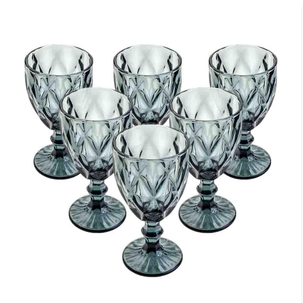 Conjunto de Taças de Vidro 260ml 6 peças Diamond Cinza - Lyor