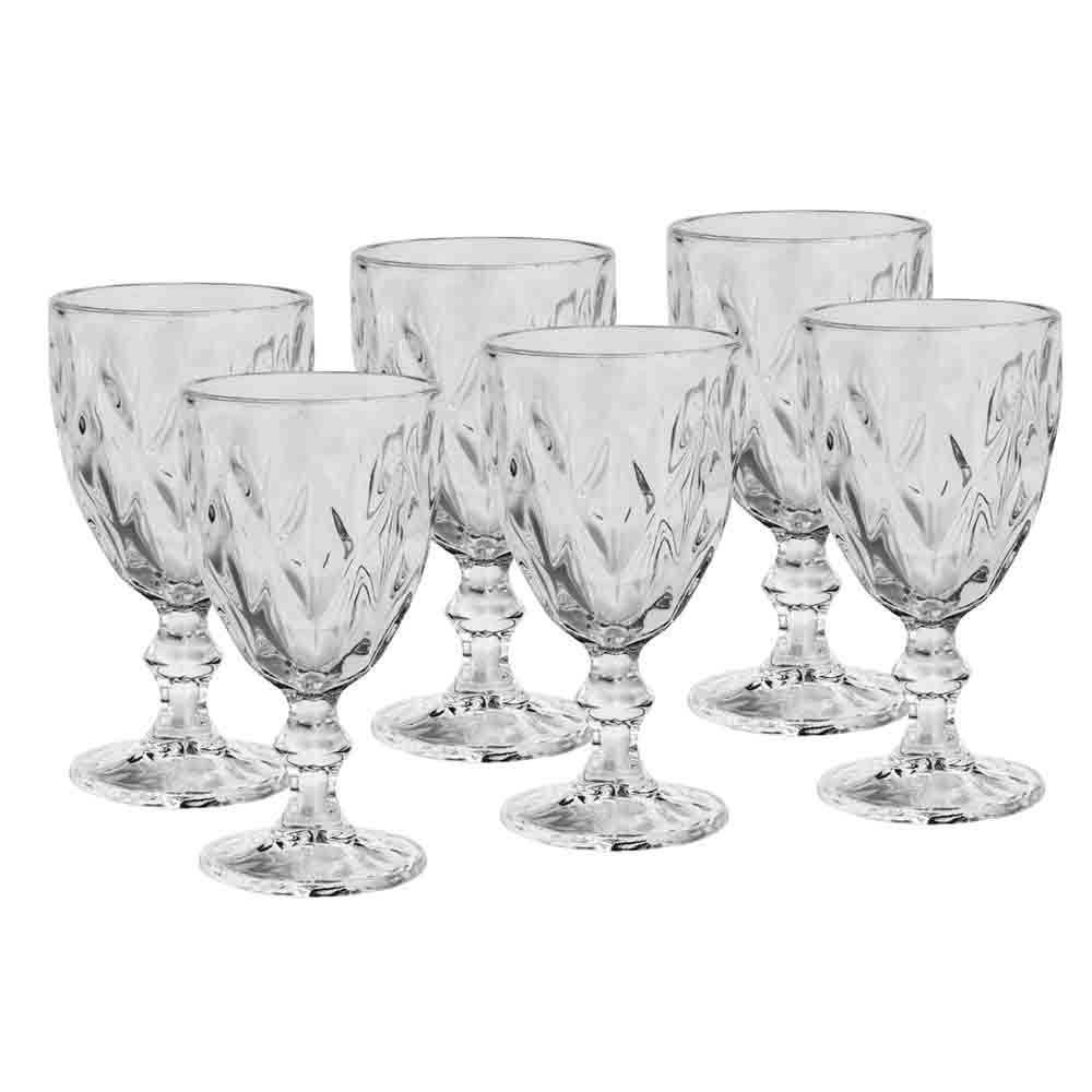 Conjunto de Taças de Vidro 265ml 6 peças Diamond Transparente - Lyor