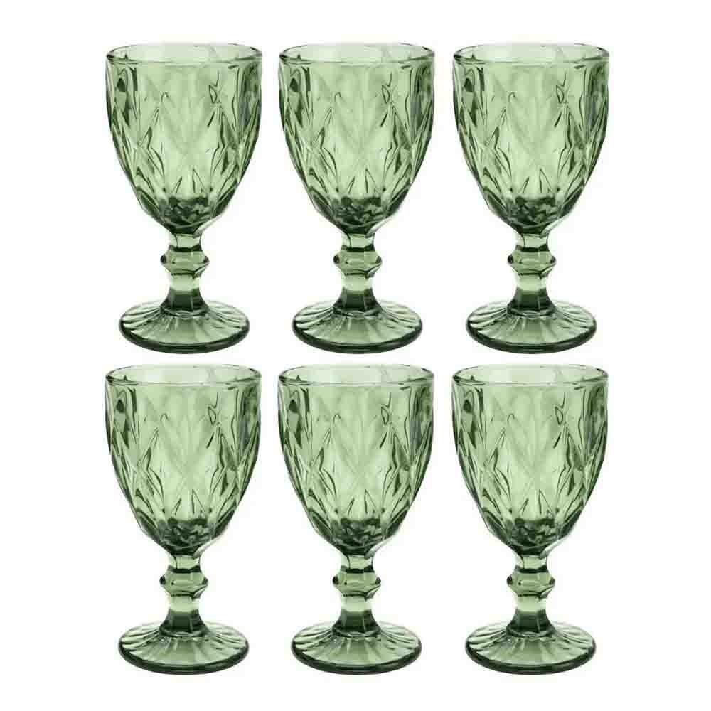 Conjunto de Taças de Vidro 260ml 6 peças Diamond Verde - Lyor