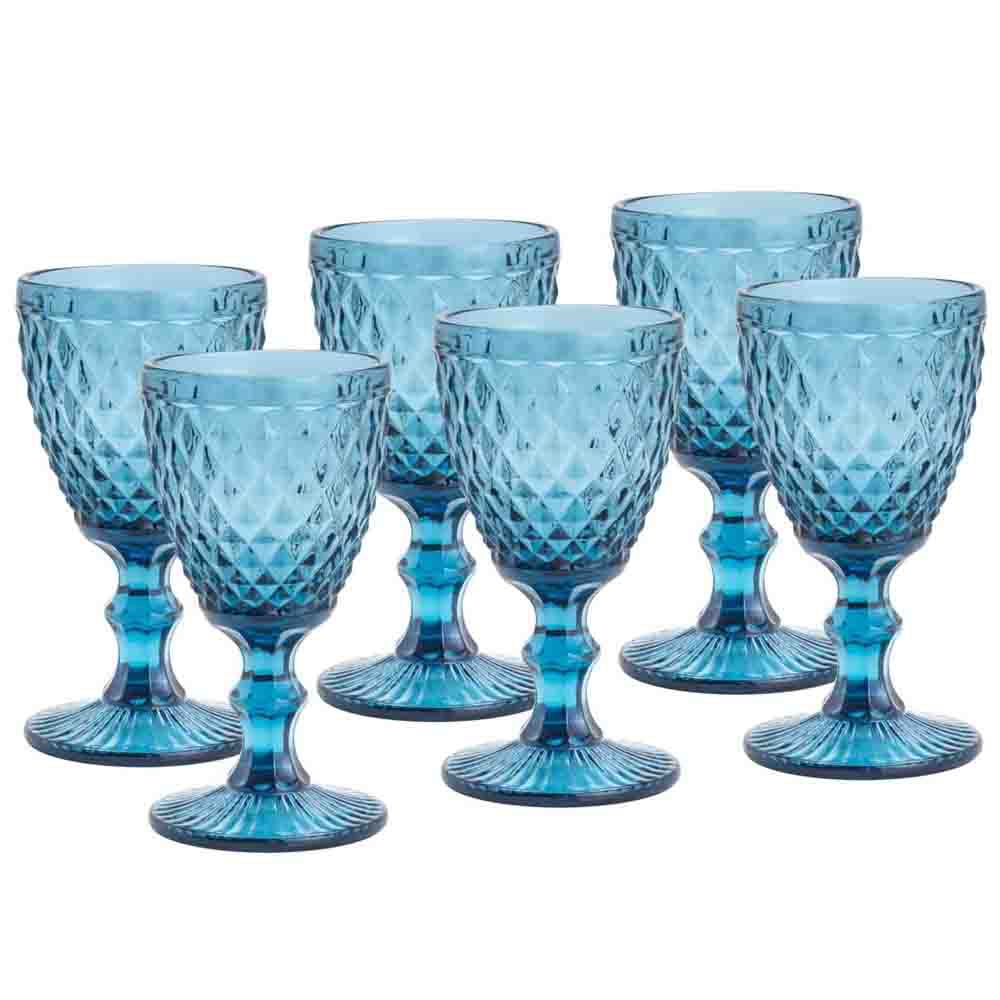 Conjunto de 6 Taças em Vidro Azul Bico de Abacaxi 300 ml - Casambiente