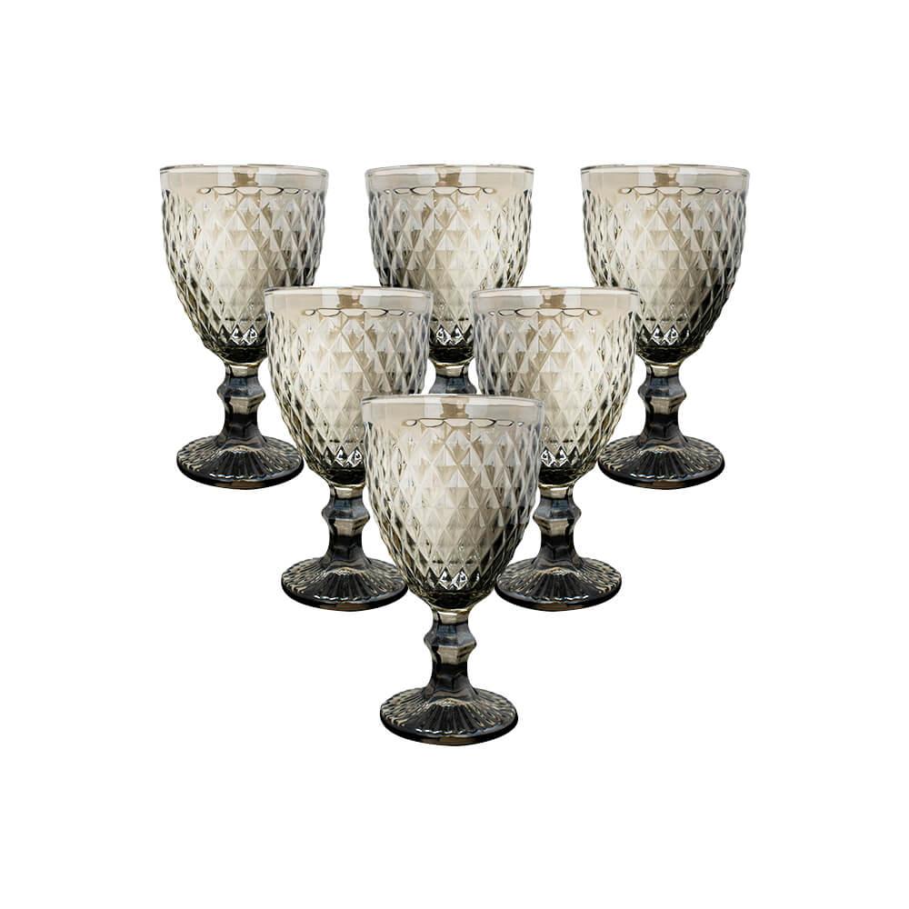 Conjunto de Taças de Vidro 300ml 6 peças Bico de Abacaxi Fumê Espelhado - Casambiente