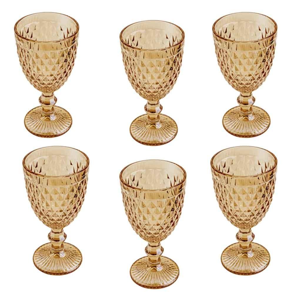 Conjunto de Taças de Vidro 325ml 6 peças Bico de Abacaxi Âmbar Metalizado - Lyor