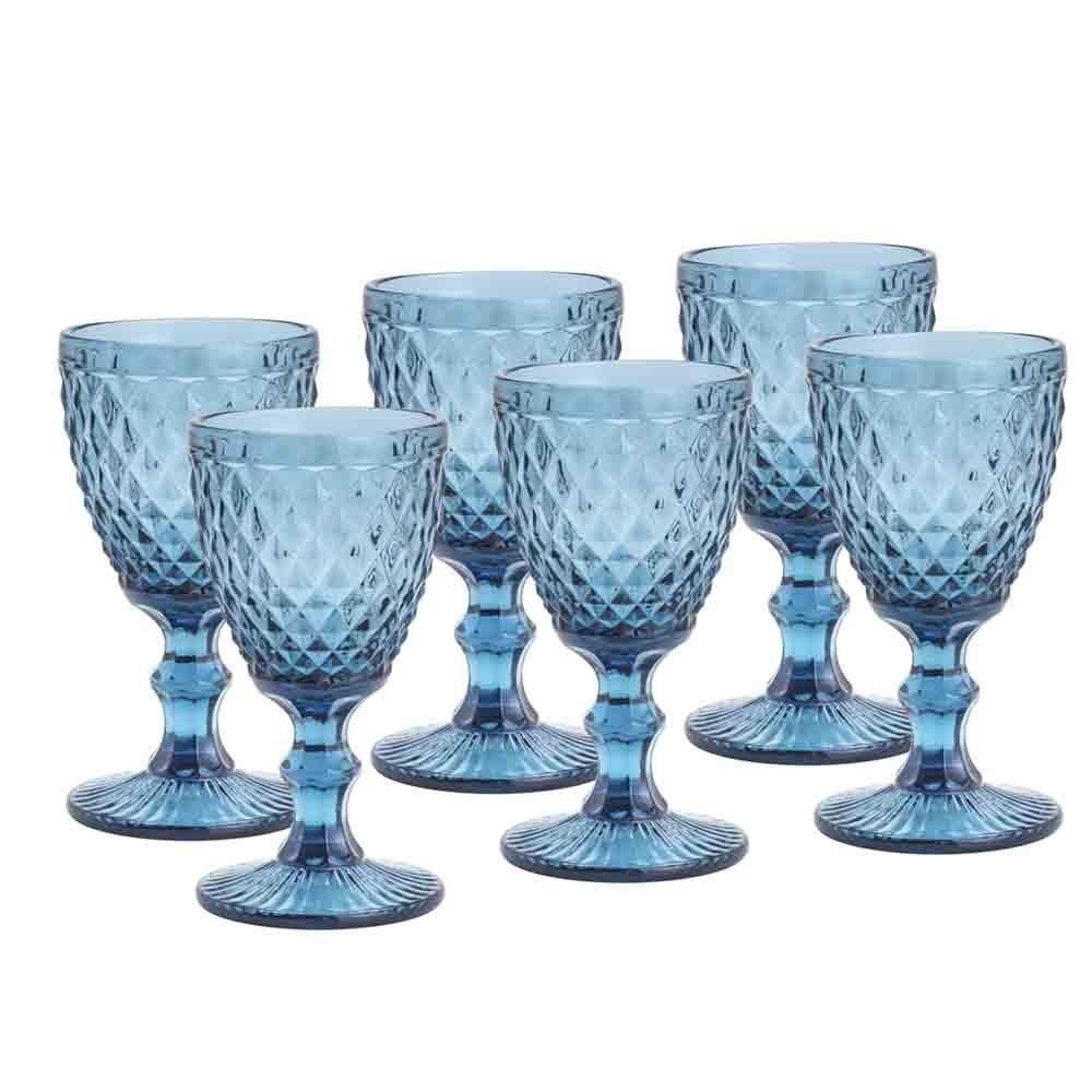 Conjunto de Taças de Vidro 325ml 6 peças Bico de Abacaxi Azul - Lyor