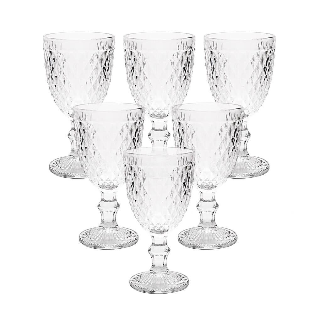 Conjunto de Taças de Vidro 325ml 6 peças Bico de Abacaxi Transparente - Lyor