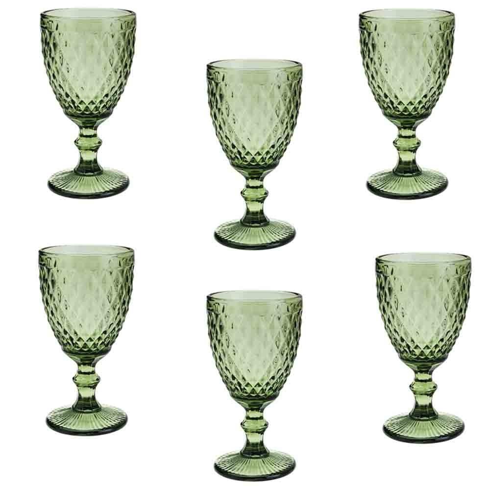 Conjunto de Taças de Vidro 325ml 6 peças Bico de Abacaxi Verde - Lyor