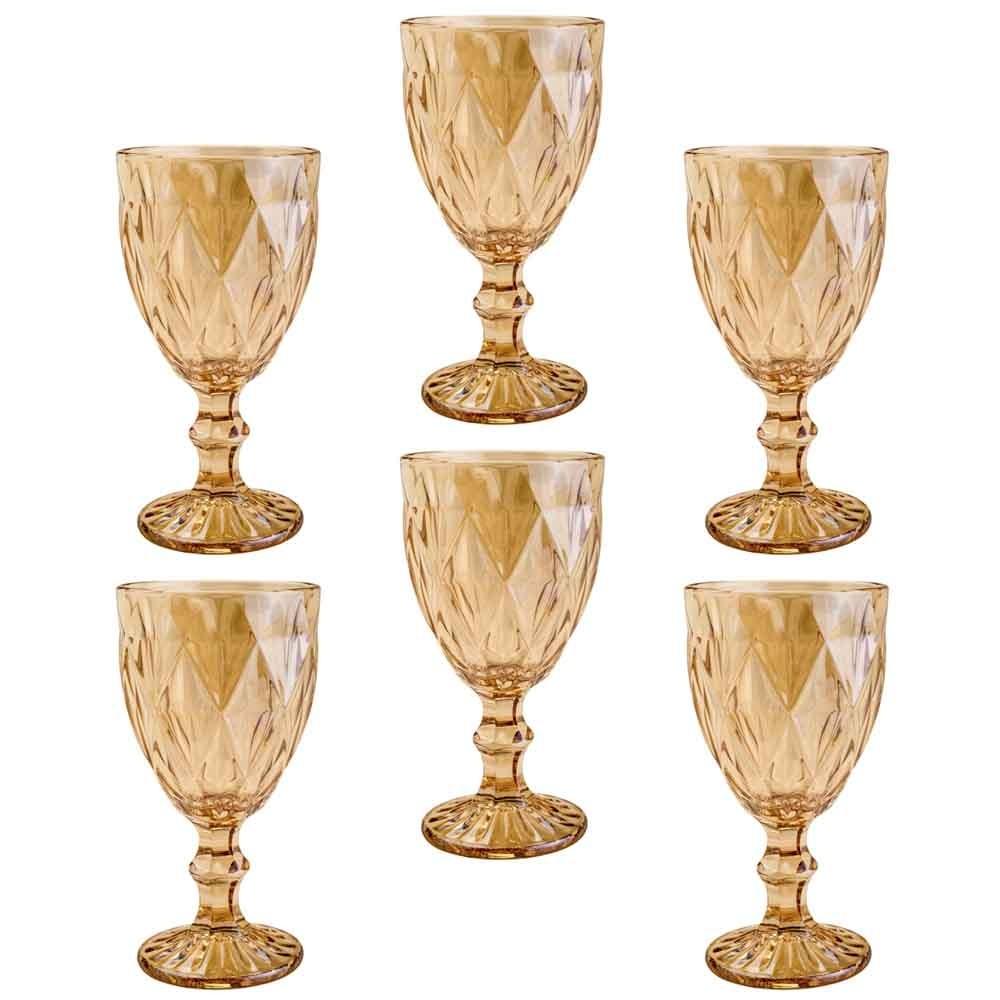 Conjunto de Taças de Vidro 325ml 6 peças Diamond Âmbar Metalizado - Lyor