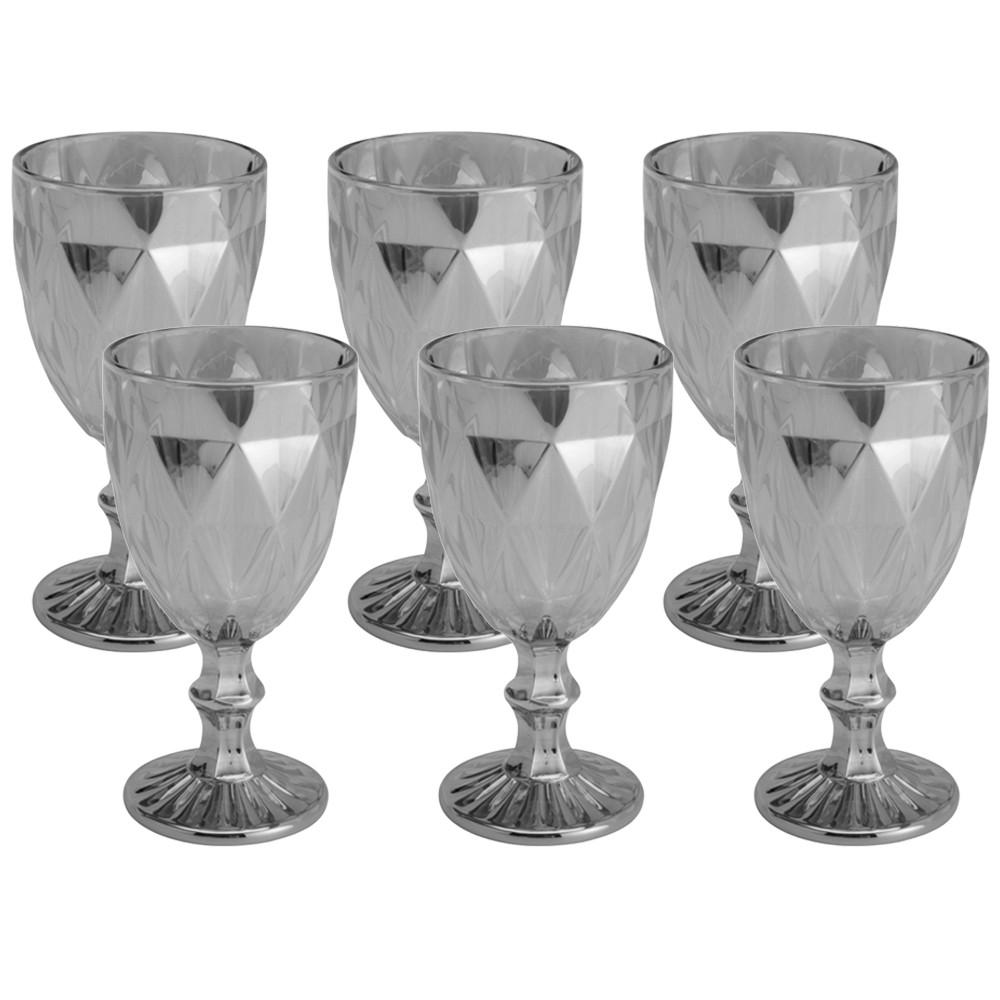 Conjunto de Taças de Vidro 325ml 6 peças Diamond Fumê Espelhado - Lyor