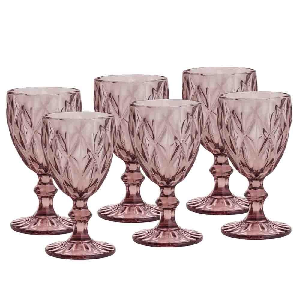 Conjunto de Taças de Vidro 325ml 6 peças Diamond Lilás - Lyor