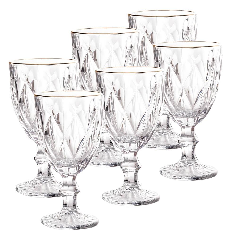 Conjunto de taças de Vidro 325ml 6 Peças Diamond Transparente Fio de Ouro - Lyor