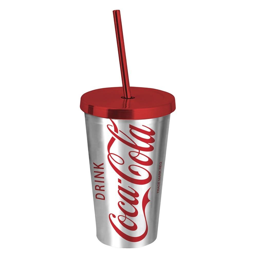 Copo com canudo Coca-cola 500ml- Chrome