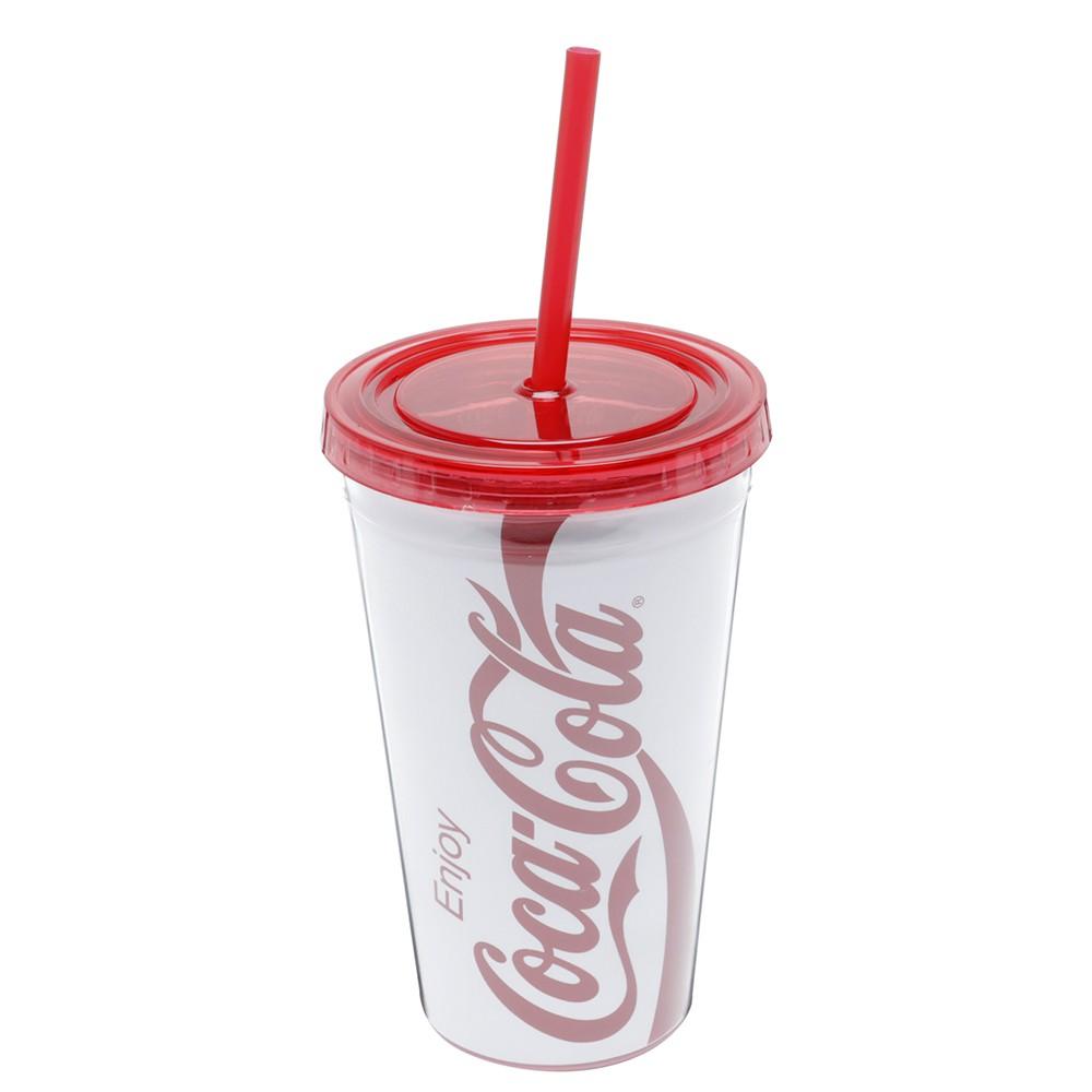 Copo com canudo Coca-cola 500ml- Branco