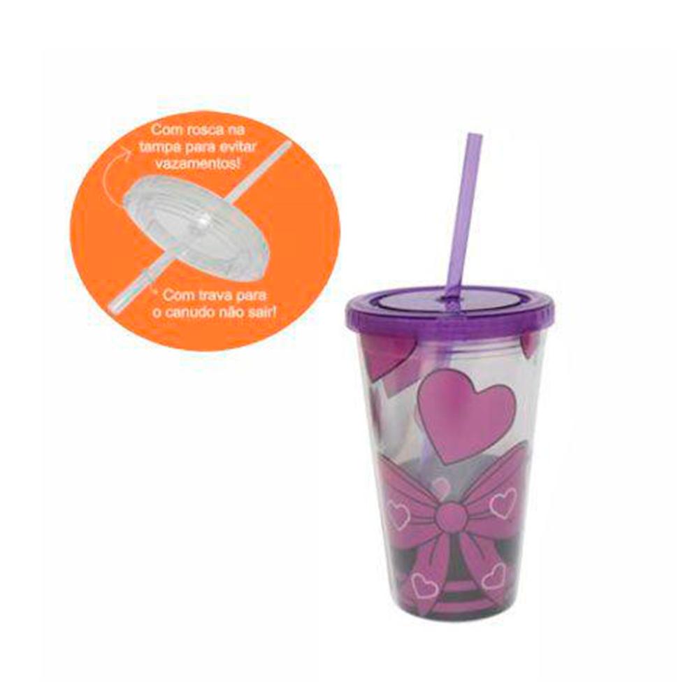 Copo de plástico com canudo SXYS-2102 Roxo