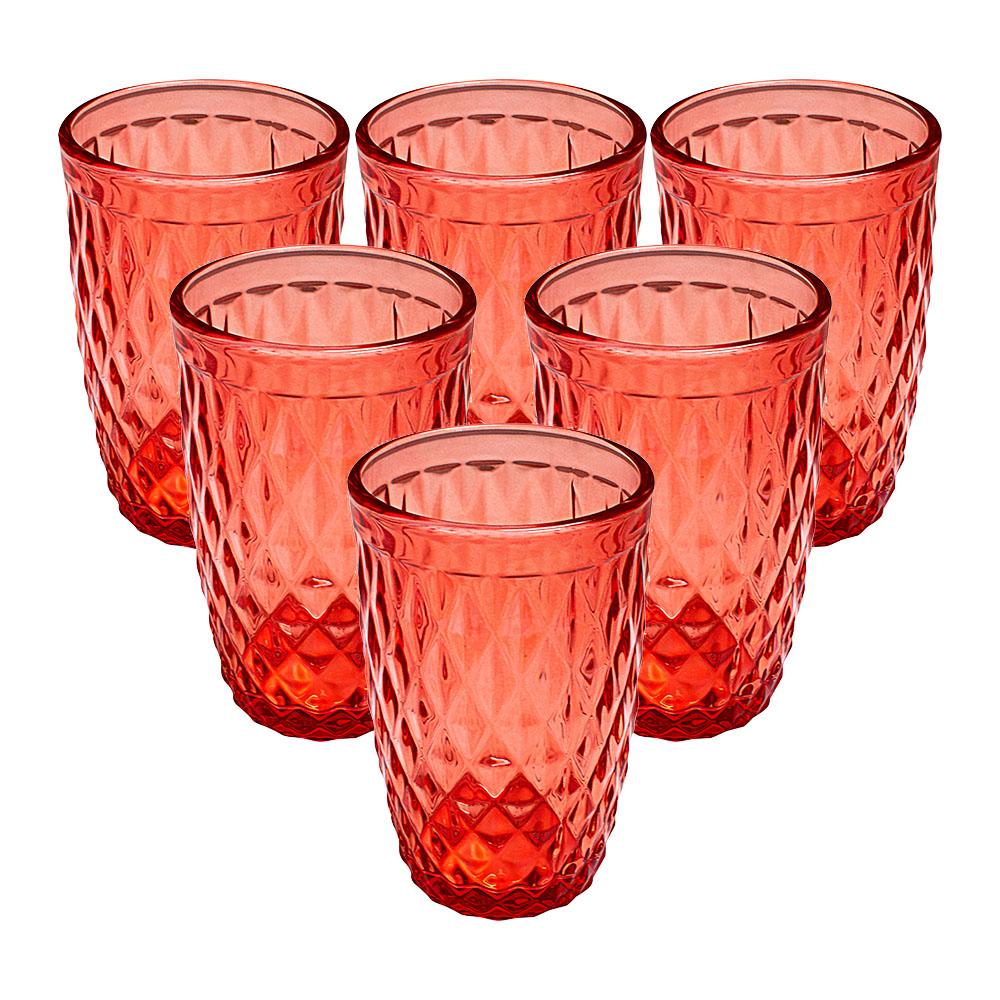 Copos de Vidro Conjunto 6 Peças Bico de Abacaxi Vermelho 360ml - Casambiente