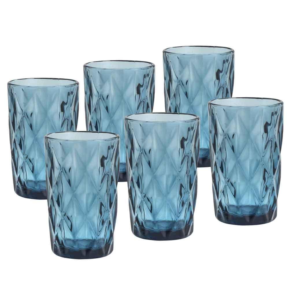 Copos de Vidro Conjunto 6 Peças Diamond Azul 350ml  - Lyor