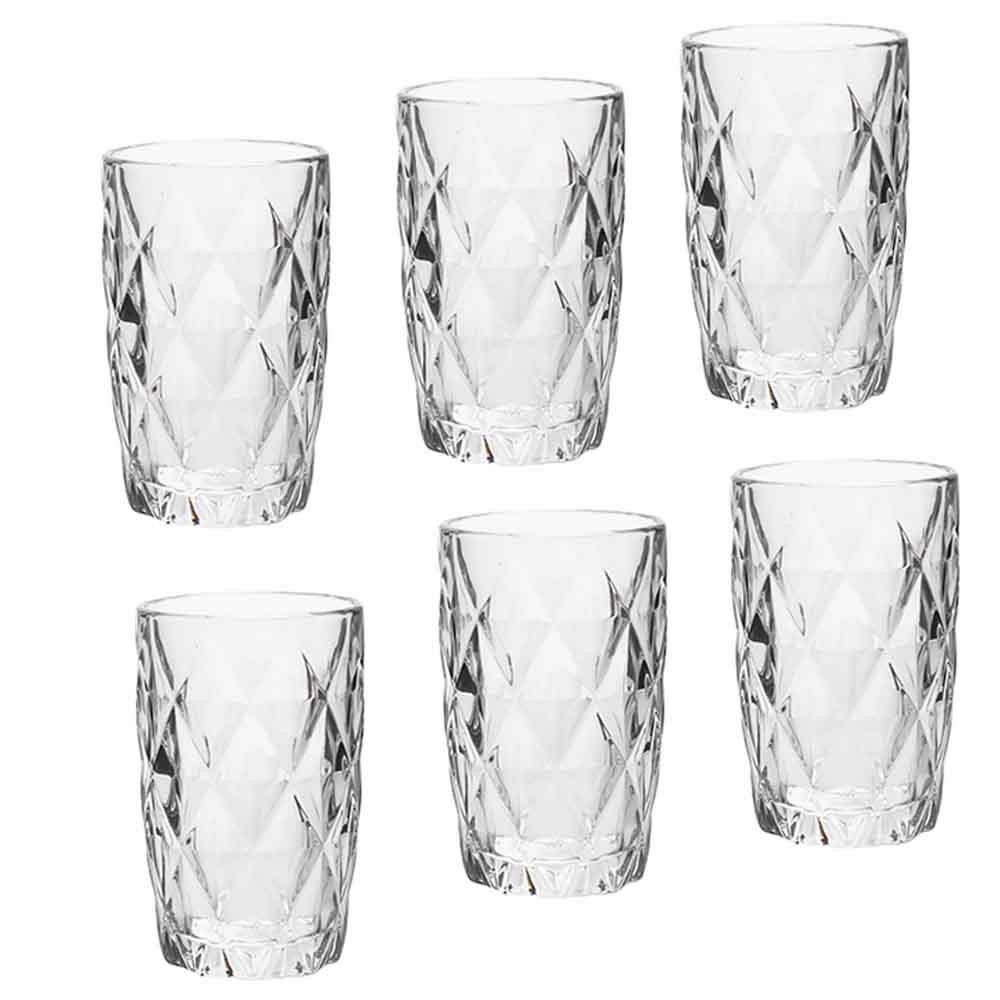 Copos de Vidro Conjunto 6 Peças Diamond Transparente 330ml  - Lyor