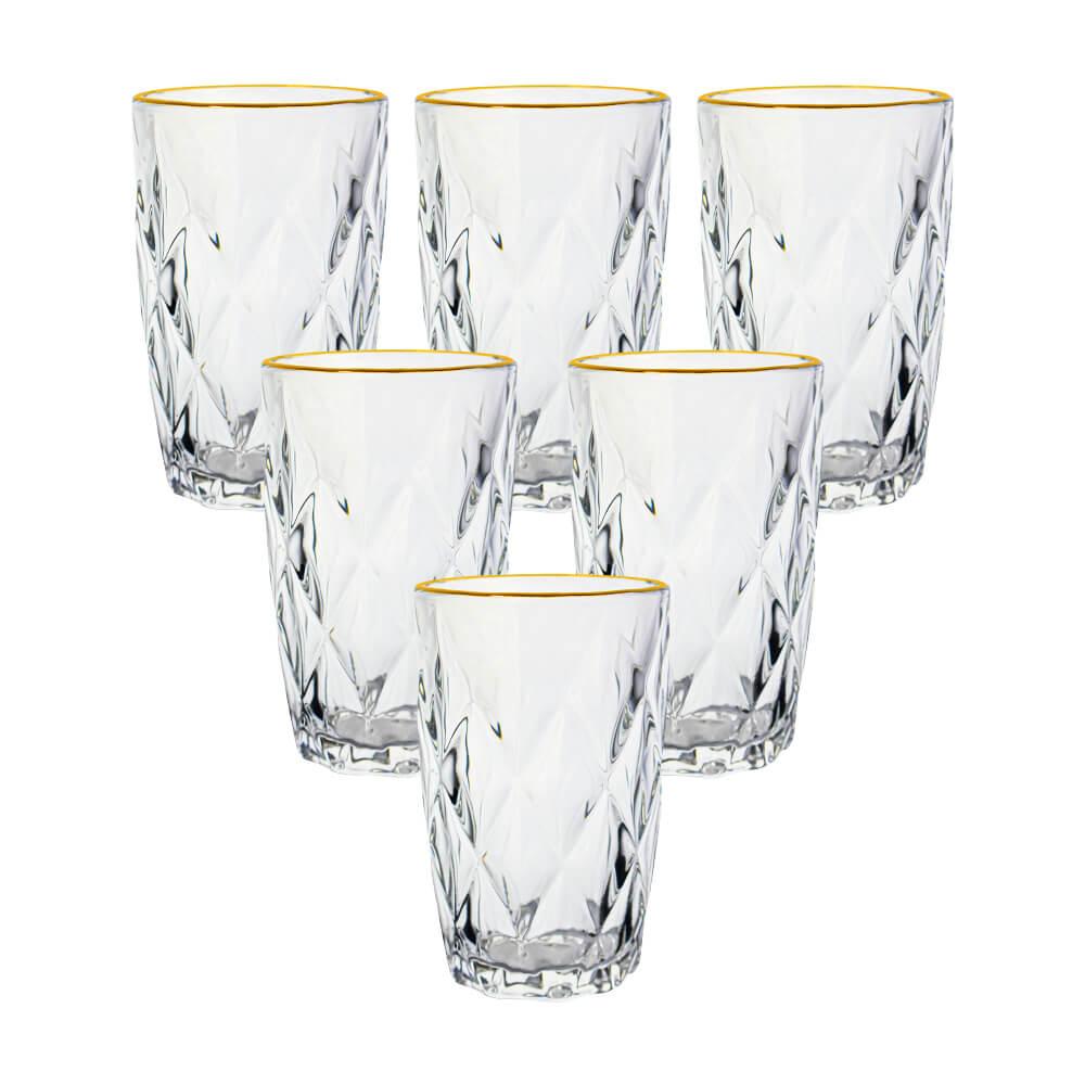 Copos de Vidro Conjunto 6 Peças Diamond Transparente Fio de Ouro 350ml  - Lyor