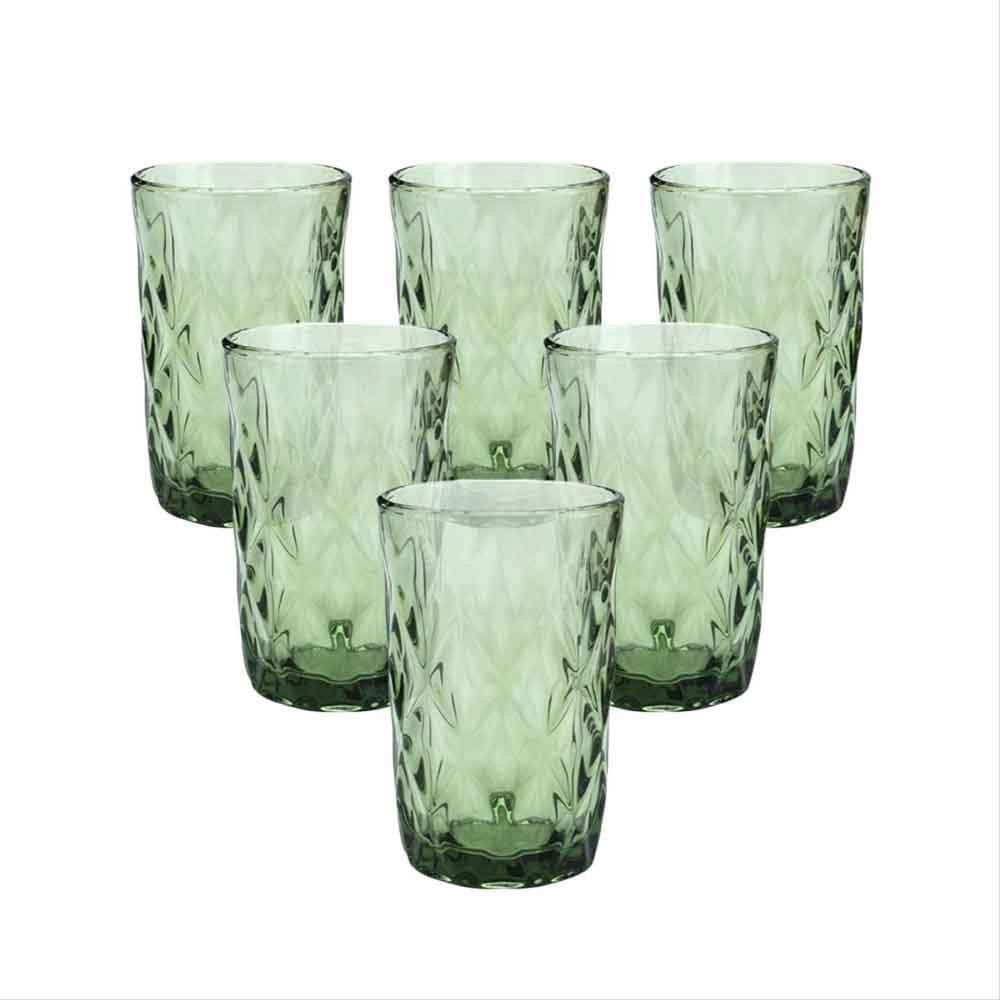 Copos de Vidro Conjunto 6 Peças Diamond Verde 350ml  - Lyor