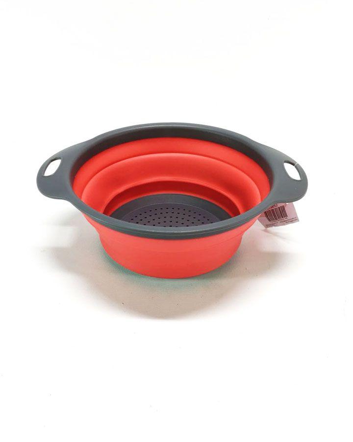 Escorredor de Legumes Vermelho com Cinza 16cm UTSI052 - Casambiente
