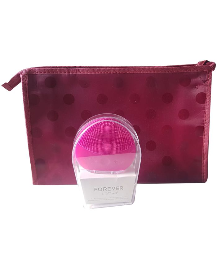 Esponja Massageadora Elétrica Facial Limpeza Rosa + Necessaire Brinde