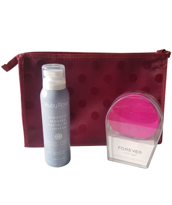 Esponja Massageadora Elétrica Facial Limpeza + Sabonete Mousse Ruby Rose +Brinde