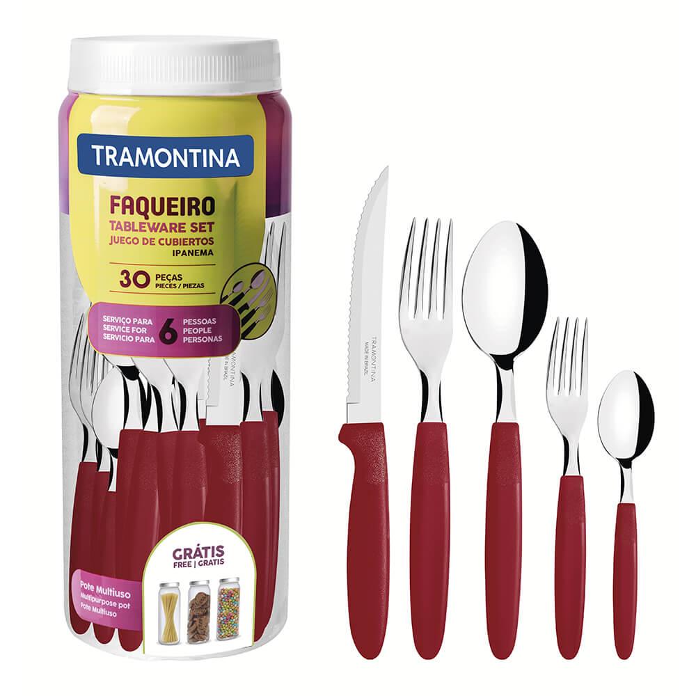 Faqueiro Tramontina Inox Ipanema Vermelho 30 peças