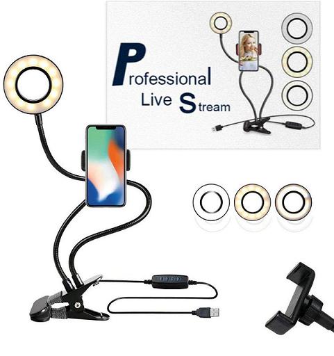 Iluminador Ring Light Suporte Articulado de Mesa Live Stream para Smartphone com Controle