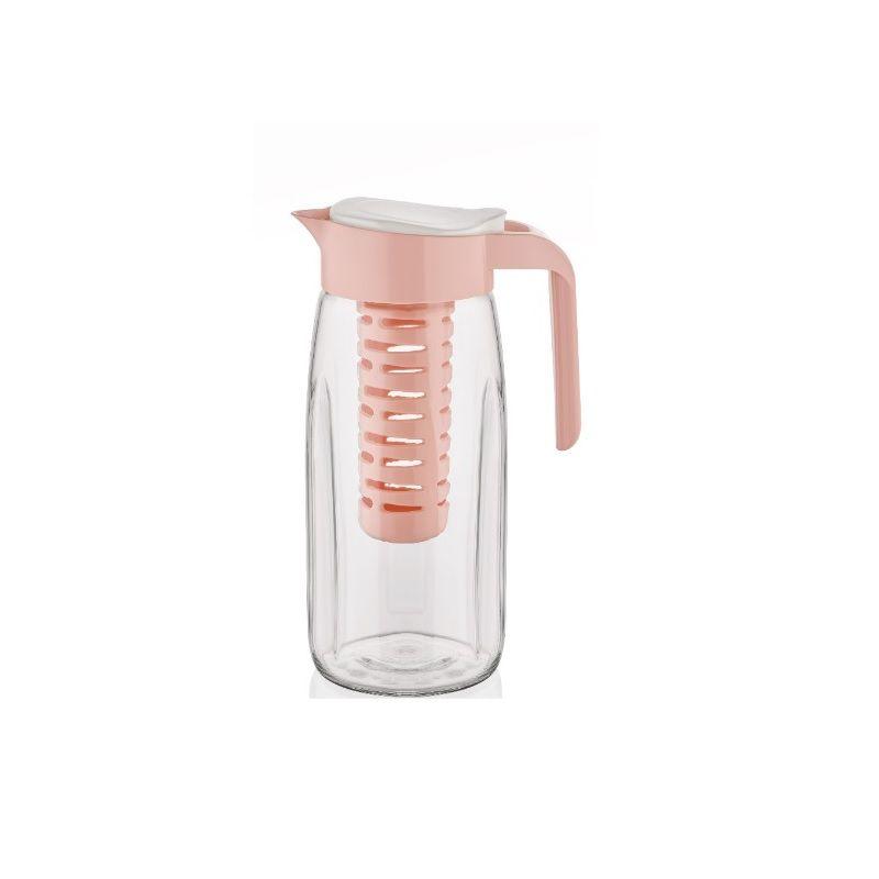 Jarra de vidro com Infusor removível Rosa - Casambiente
