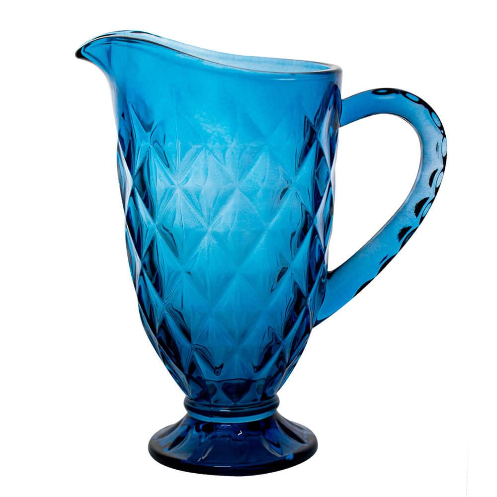Jarra de Vidro Diamond Azul 1,1L - Casambiente