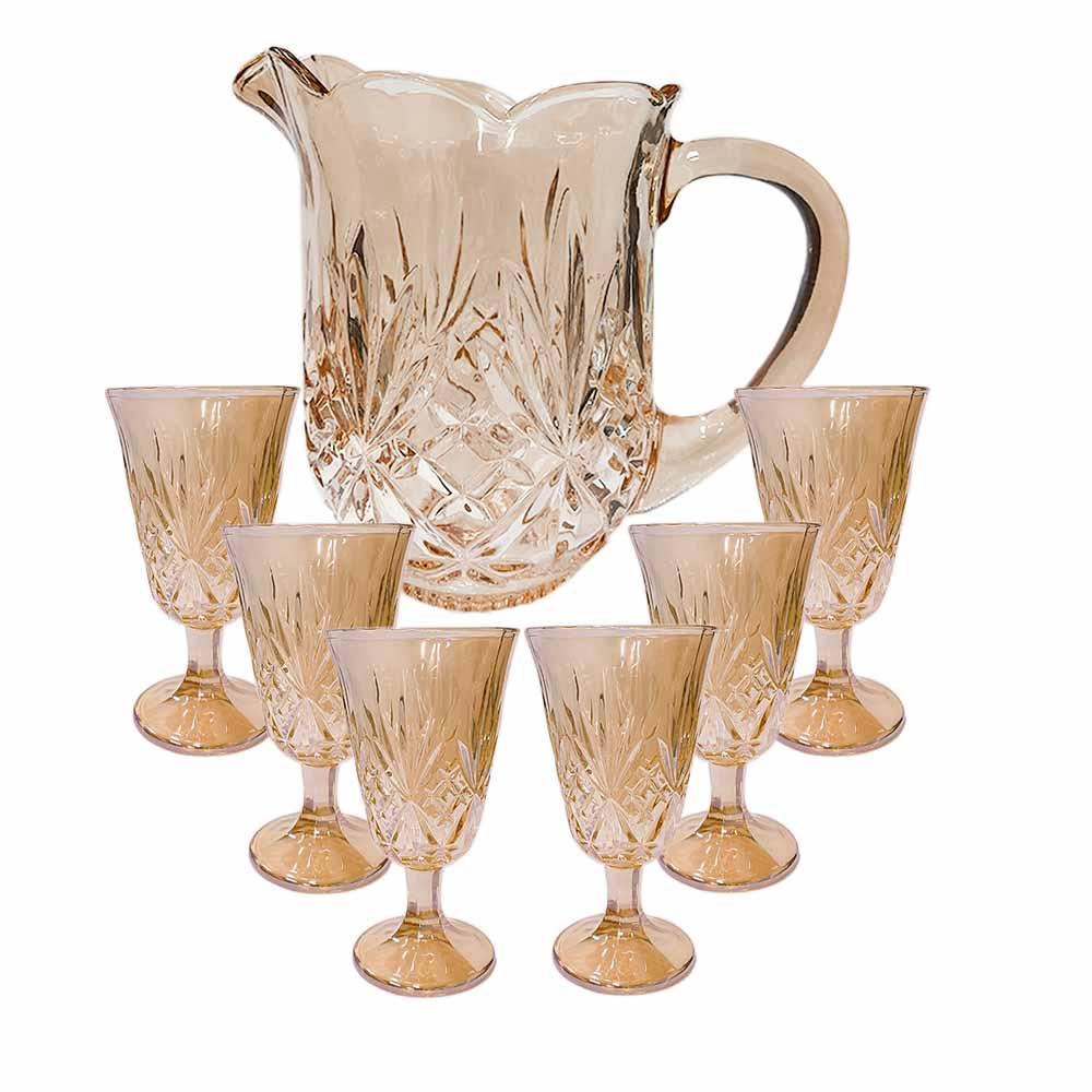 Jarra e Taças Conjunto de 7 Peças em Cristal Âmbar - Lyor