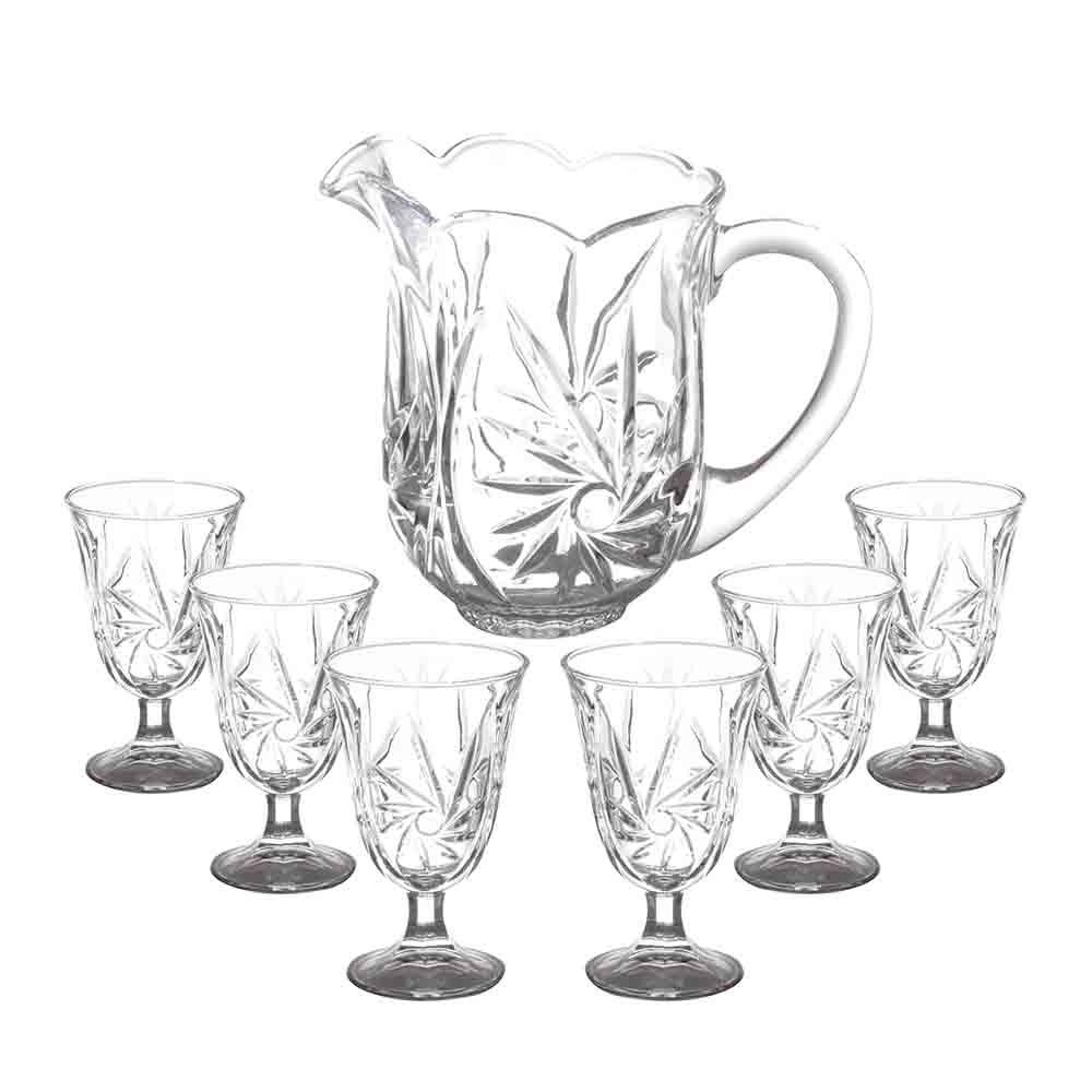 Jarra e Taças Conjunto de 7 Peças em Cristal - Lyor