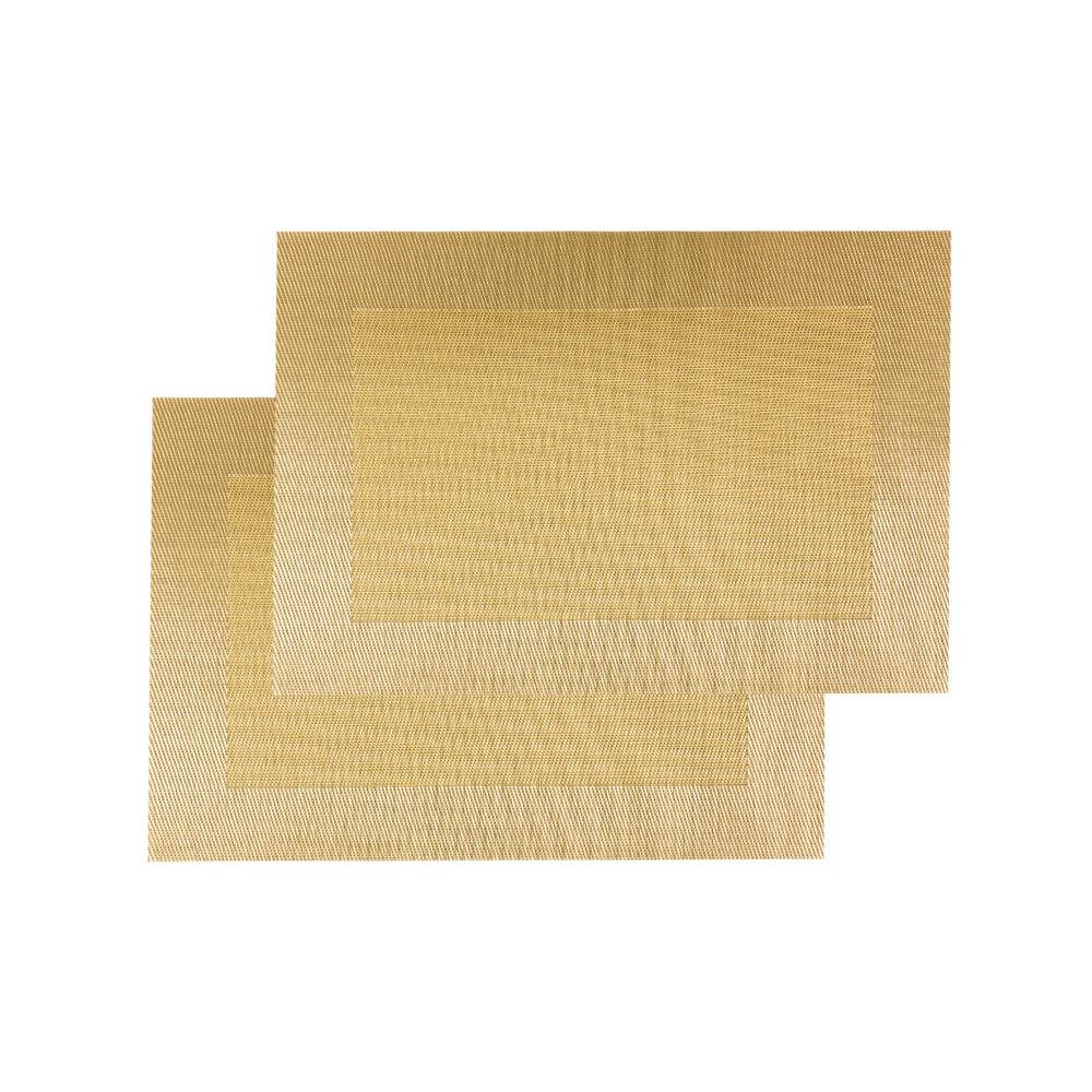 Jogo Americano 2 peças Retangular Dourado - Casambiente