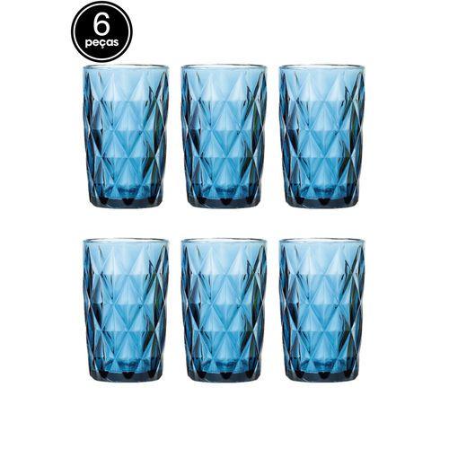 Jogo com 6 Copos Diamond Azul 360Ml Casambiente Covi055
