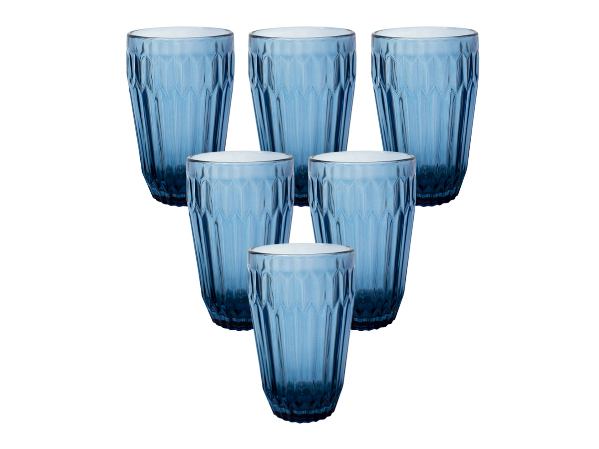 Jogo de Copos de Vidro Arrow Azul 345ml 6 peças - Casambiente