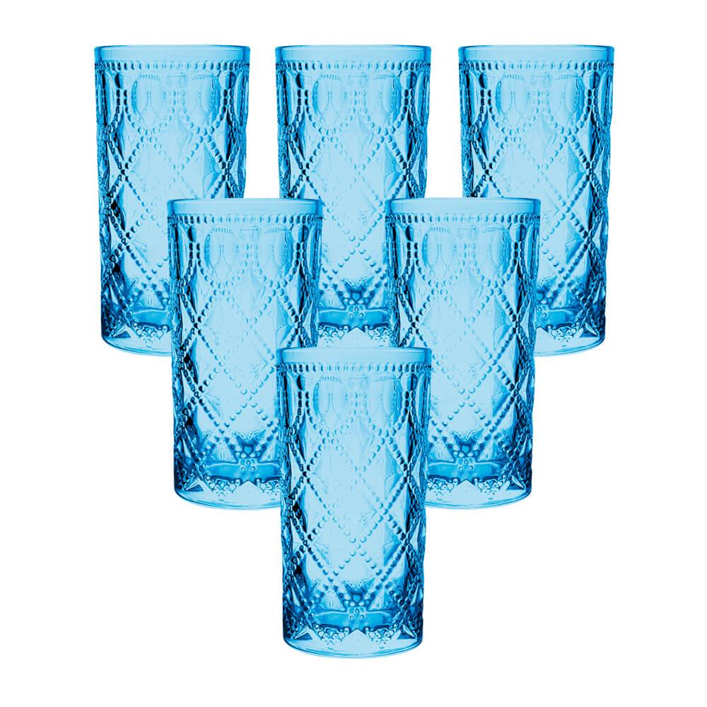 Jogo de Copos de Vidro Royal Azul 380ml - Casambiente