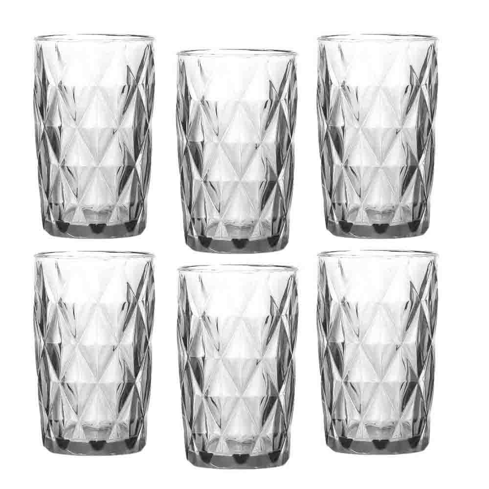 Jogo de Copos Diamond Transparente 360Ml 6 Peças - COPOI054
