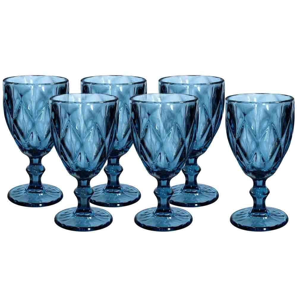 Jogo de Taças de Vidro 240ml 6 Peças - Diamond Azul TCVI059