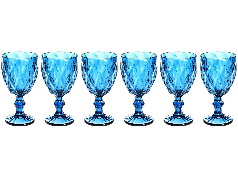 Jogo de Taças de Vidro 260ml 6 Peças - Casambiente Diamond Azul TCVI059